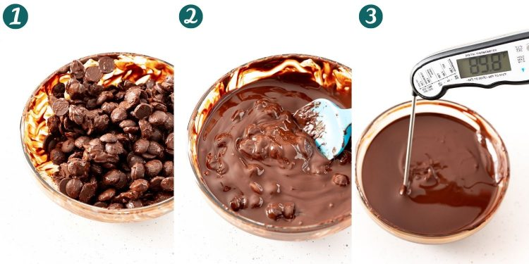 Step-by-step photo collage showing how to temper chocolate.