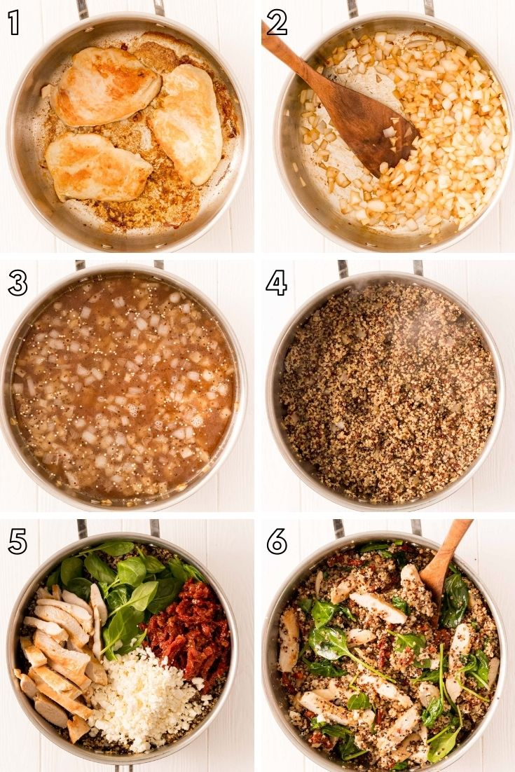 Step-by-step photo collage showing how to make one pan greek chicken with quinoa, spinach, feta, and sundried tomatoes.