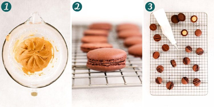 Step-by-step photo collage showing how to make macarons.