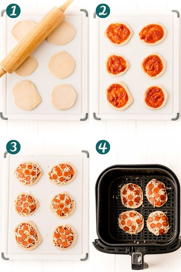 Step by step photo collage showing hot to make pizzas in an air fryer.