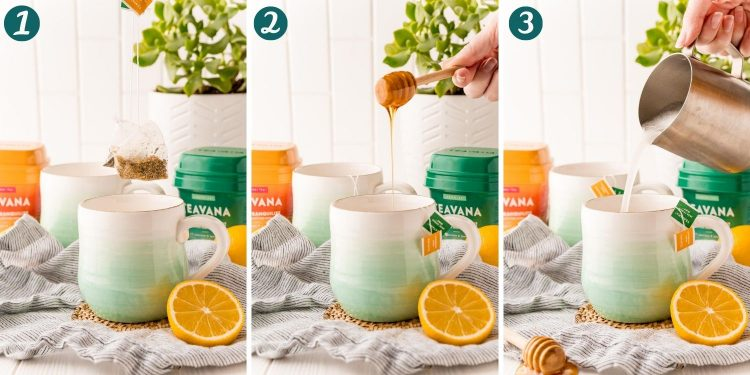 Step by step photos showing how to make medicine ball tea.