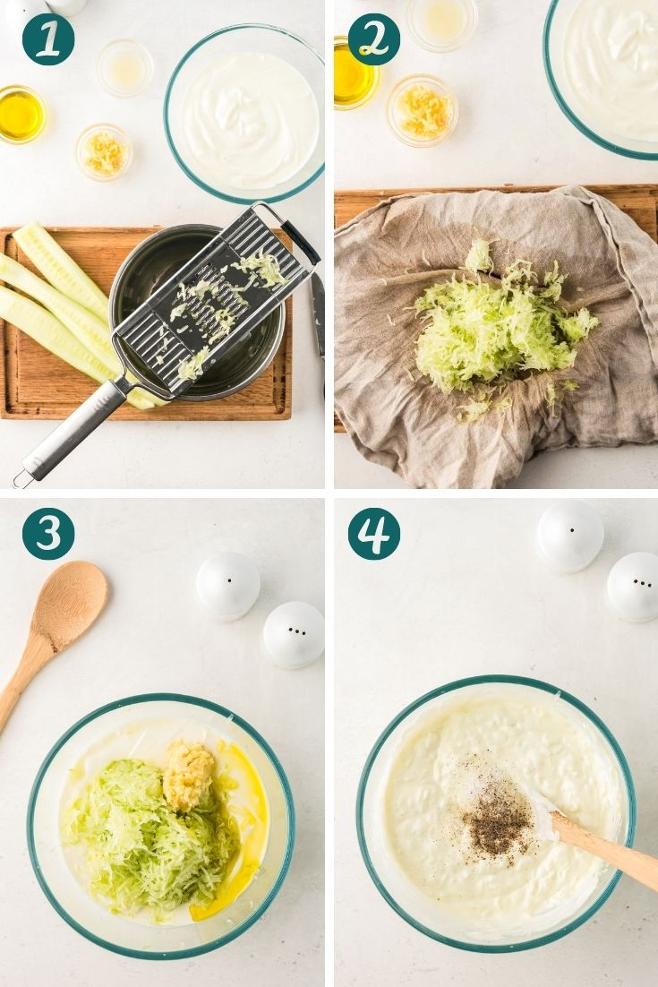Step-by-step photos showing how to make tzatziki sauce.