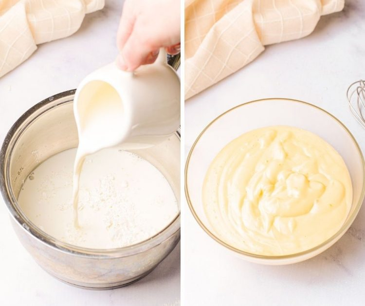 step-by-step photos showing how to make pastry cream.