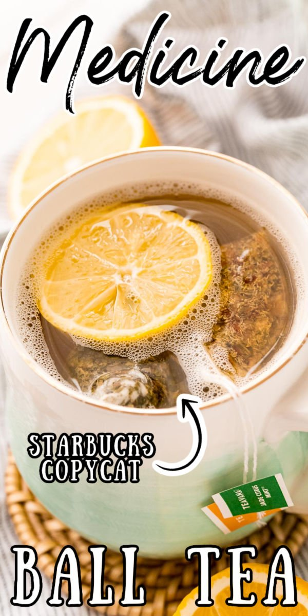 This Starbucks Medicine Ball Tea is a deliciously soothing copycat recipe made with peach and mint teas, honey, and lemonade! via @sugarandsoulco