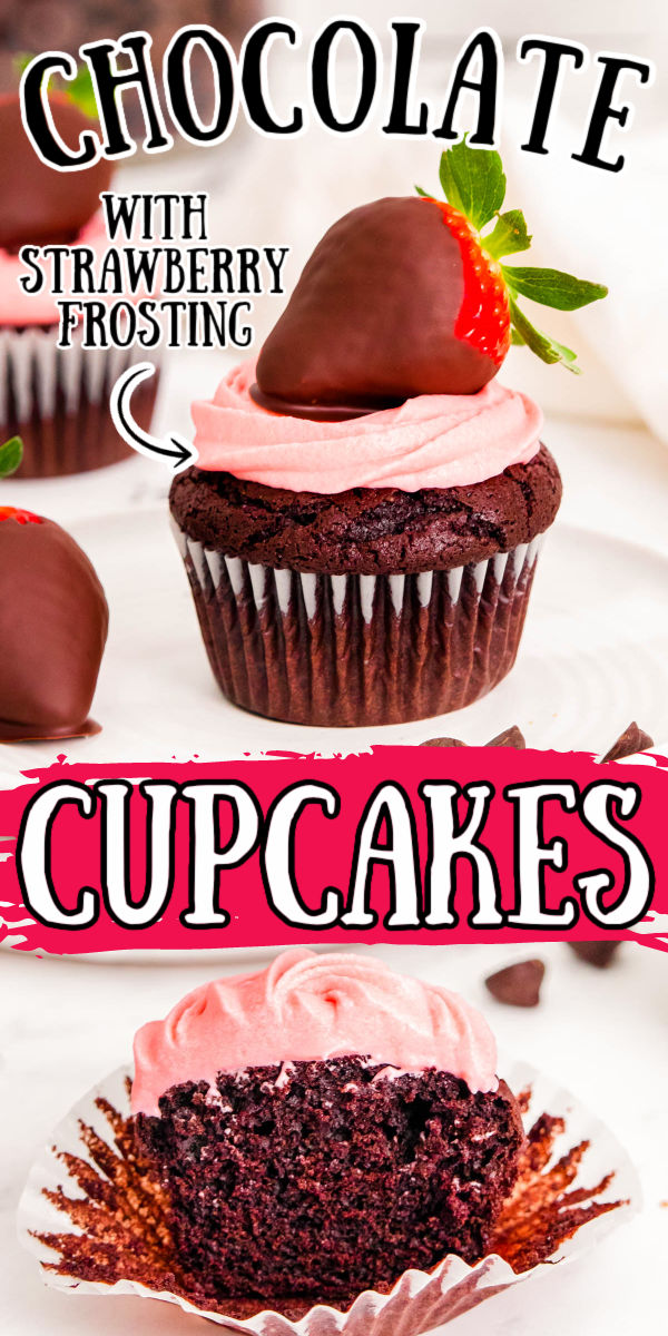 Chocolate Covered Strawberry Cupcakes are homemade chocolatey, moist cupcakes covered in a rich strawberry cream cheese frosting and topped with juicy chocolate covered strawberries! via @sugarandsoulco