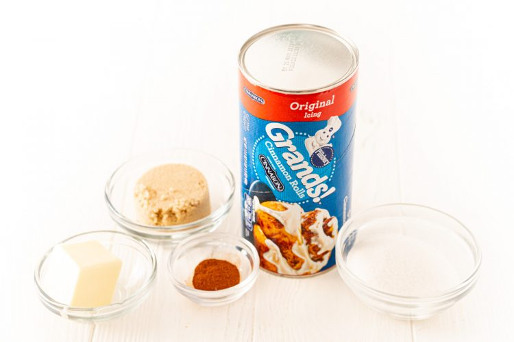 Ingredients used to make air fryer monkey bread on a white table.