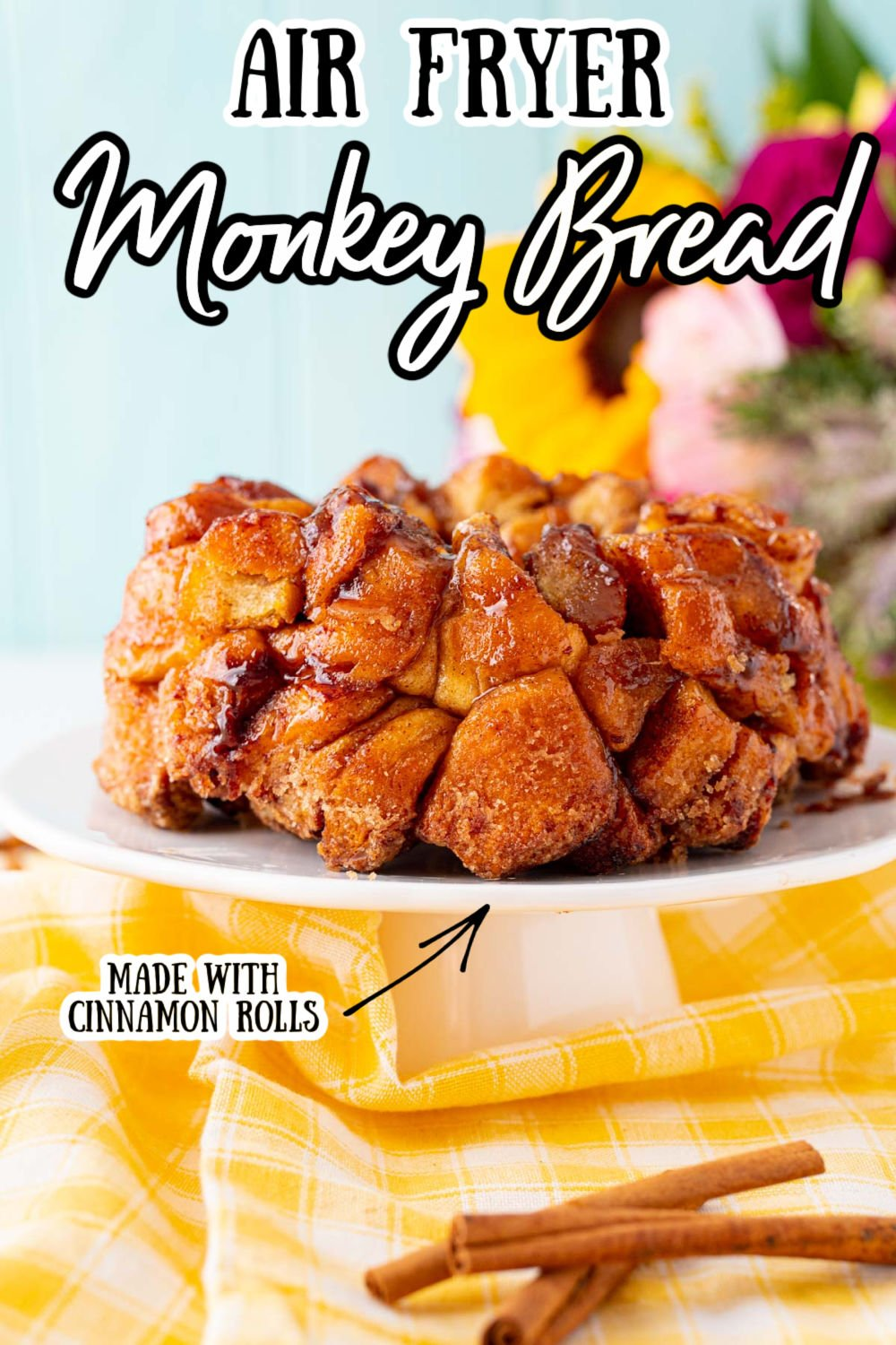 Air Fryer Monkey Bread uses canned cinnamon rolls and 4 more ingredients to deliver a lightly crisped sweet treat that cooks in 15 minutes! via @sugarandsoulco