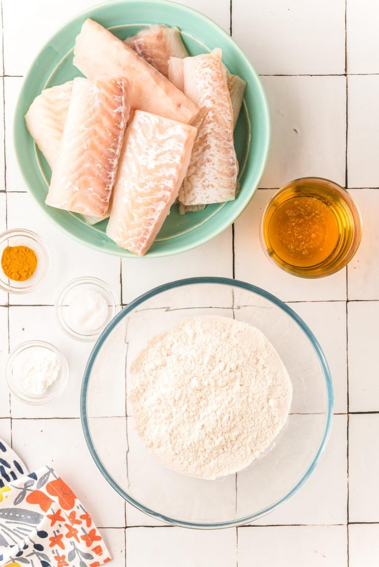 Overhead photo of ingredients to make fried fish.