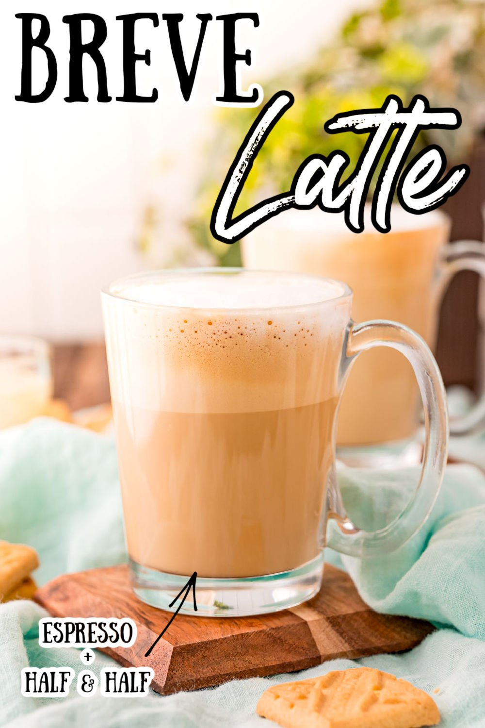 This Breve Latte recipe is a rich and creamy coffee beverage that's made with half & half and a shot of espresso! The perfect latte to fill your morning mug with! via @sugarandsoulco