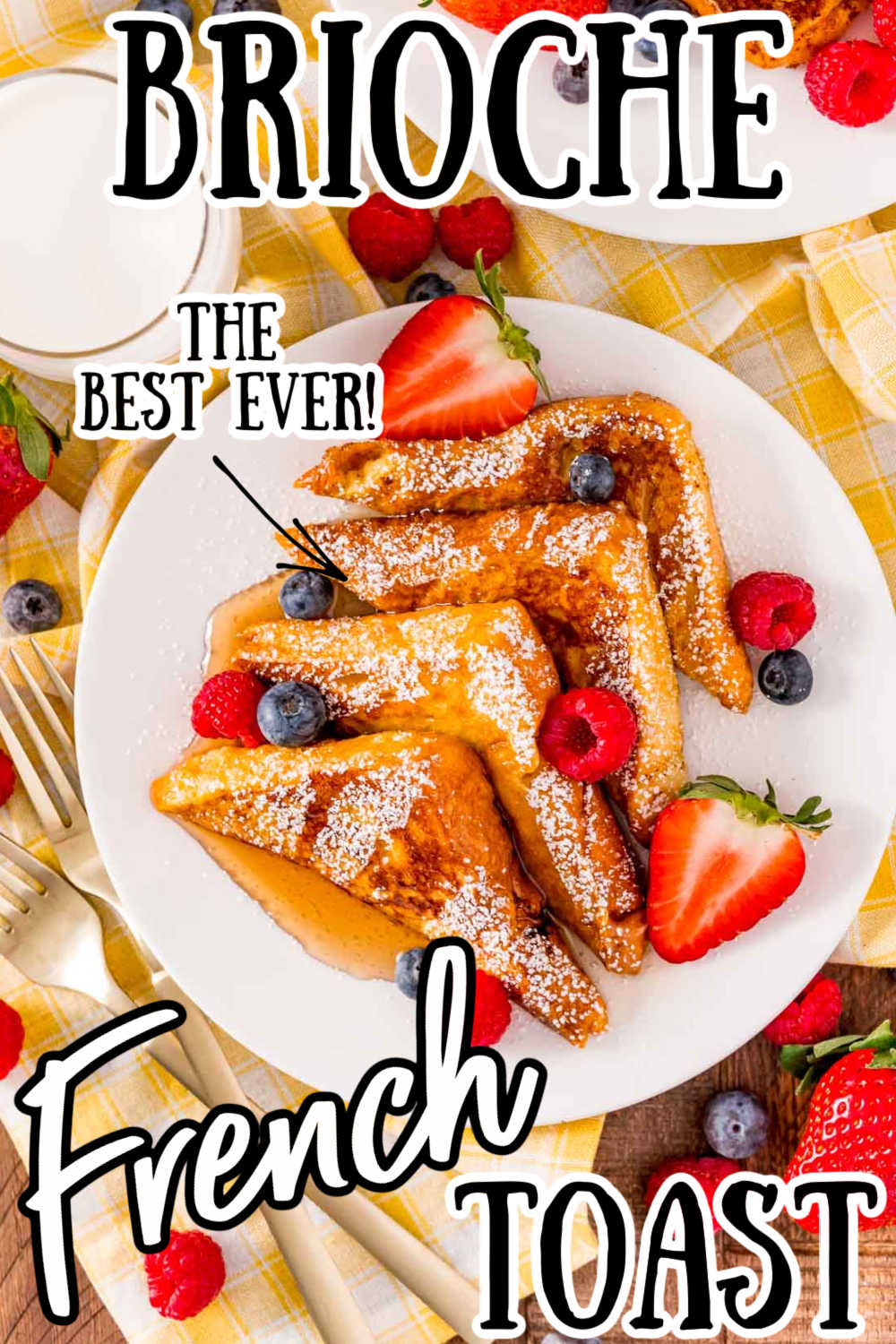 The Best Brioche French Toast is soaked in a rich and creamy egg wash, then cooked to a mouth-watering golden brown! A sweet breakfast option the whole family will be excited to see in the morning! via @sugarandsoulco