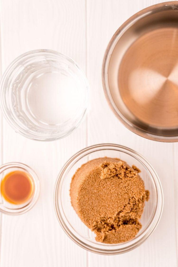 Overhead photo of ingredients used to make brown sugar simple syrup.