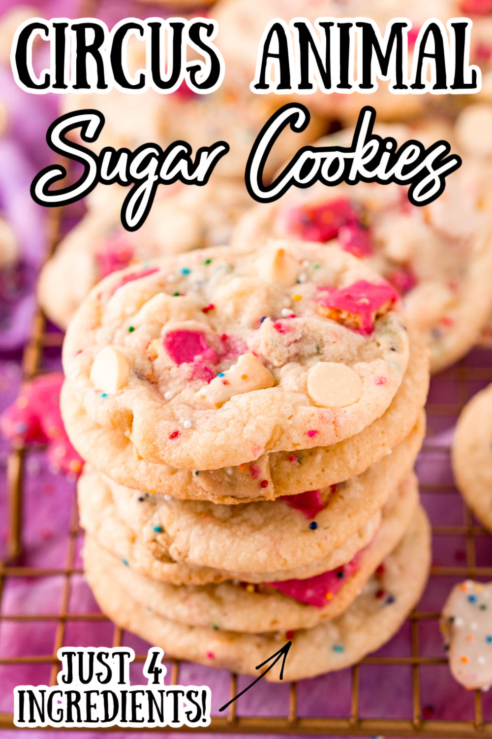 Circus Animal Cookies are fun, sweet, and delicious treats that are loaded with circus animal cookies, white chocolate chips, and sprinkles! Made with refrigerated cookie dough for a fast and easy 4-ingredients dessert! via @sugarandsoulco
