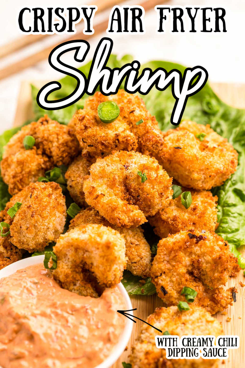 This Crispy Air Fryer Shrimp is golden brown and packed with a kick of heat from the breading to the jalapeno cream chili dipping sauce!  via @sugarandsoulco