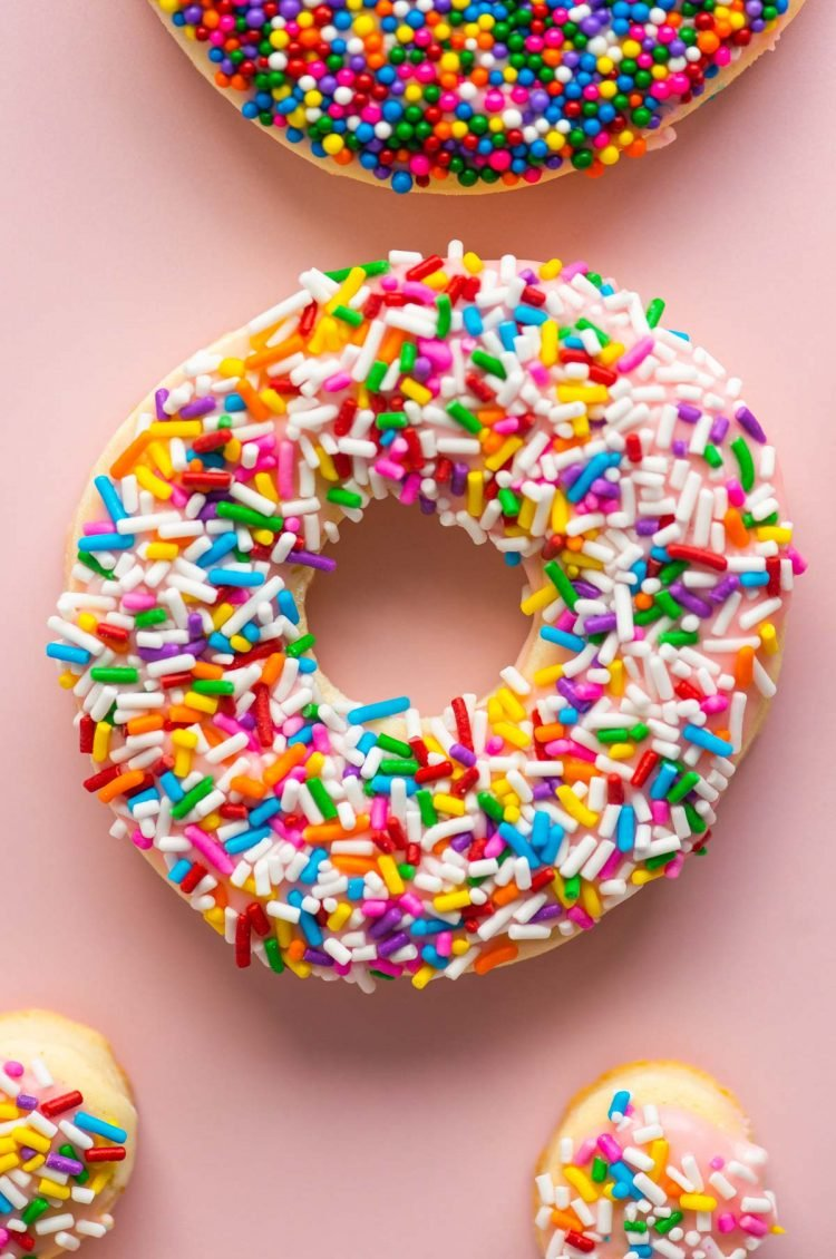Close up photo of a donut cookie covered in sprinkles.