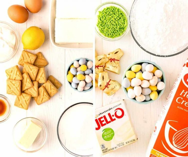 Ingredients used to make Easter decorated cheesecakes.