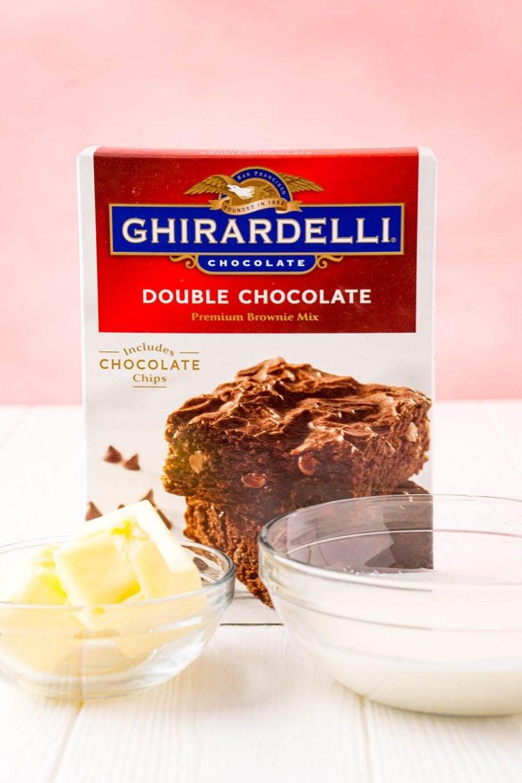 Ingredients used to make edible brownie batter.