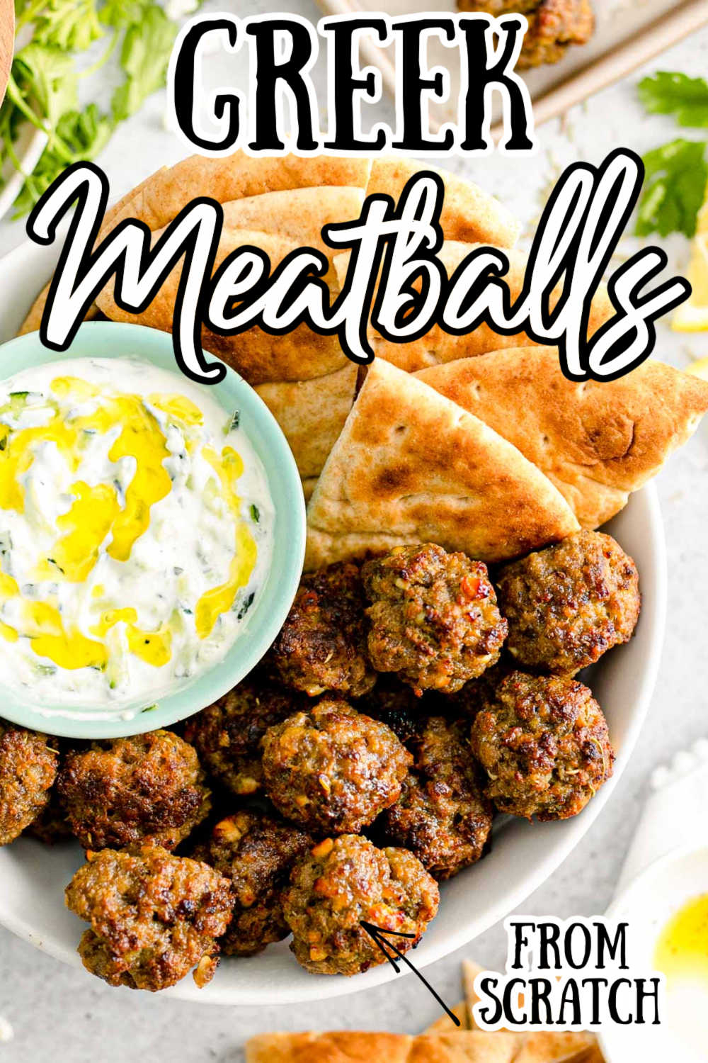 These Greek Meatballs are perfectly plump and loaded with authentic flavor using herbs and spices to pack into ground beef and served with pita bread and tzatziki sauce! via @sugarandsoulco