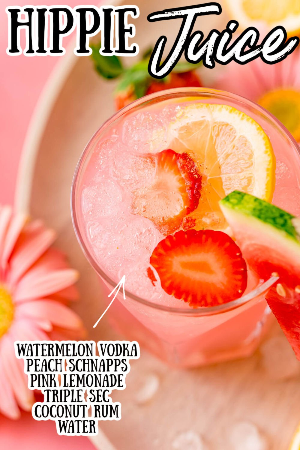 Hippie Juice uses watermelon vodka, triple sec, coconut rum, and peach schnapps to make a strong, incredibly smooth, sweet, and fruity drink! via @sugarandsoulco