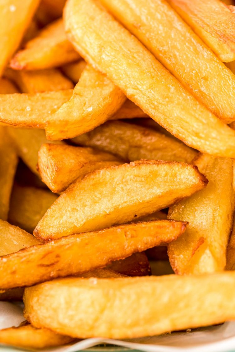 Super close up photo of French fries.