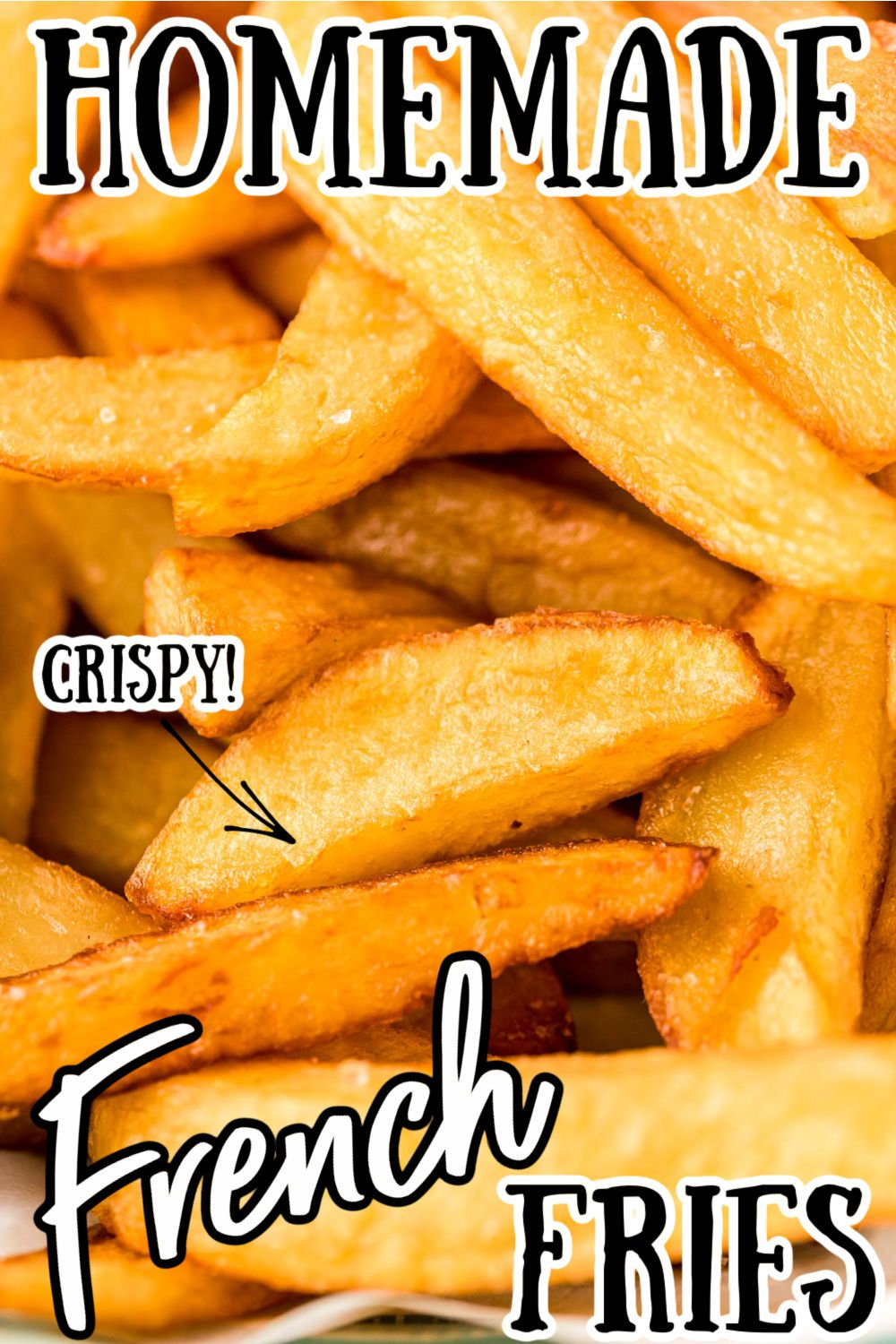 These Homemade French Fries hit your table in under 35 minutes after being double fried to a beautiful, crisp golden brown! Pair these crunchy french fries with your favorite burger, chicken tenders, or with a tasty slab of fried fish! via @sugarandsoulco