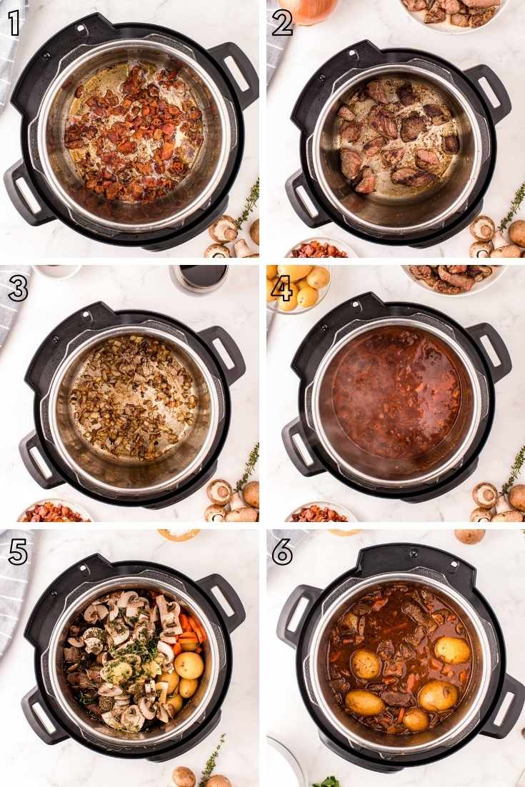 Step-by-step photo collage showing how to make beef bourguignon in an instant pot.