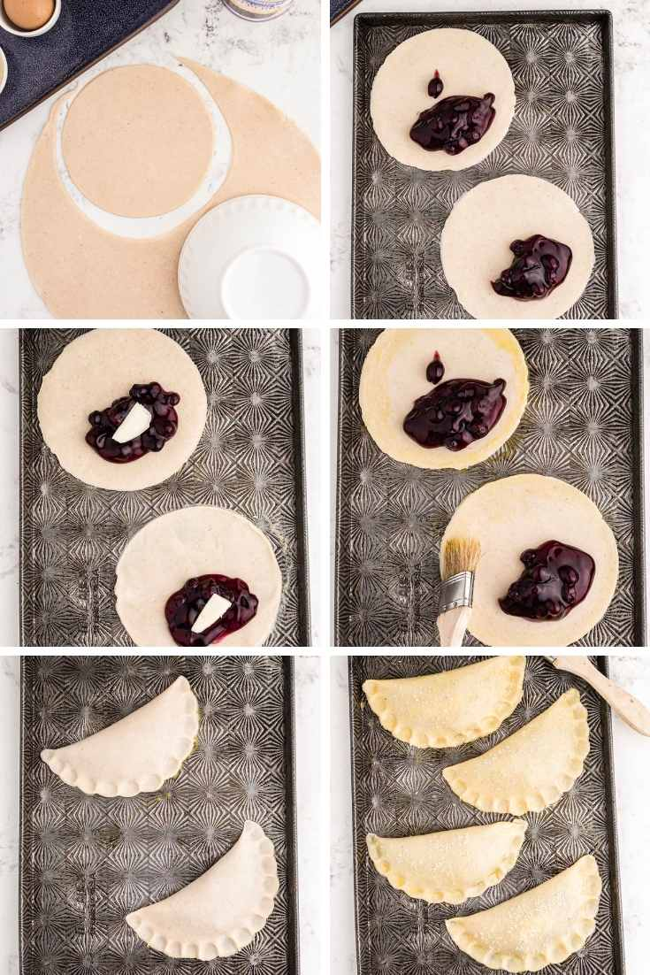 Step by step photo collage showing how to make blueberry hand pies.