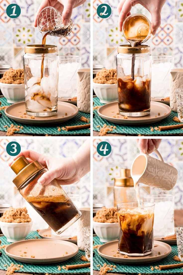 Step-by-step photo collage showing how to make a brown sugar oatmilk espresso at home.