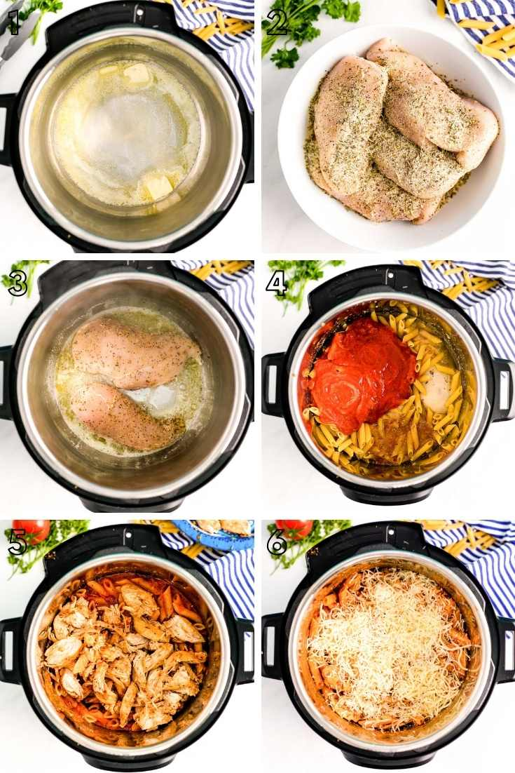 Step-by-step photo collage showing how to make chicken parm in an instant pot.