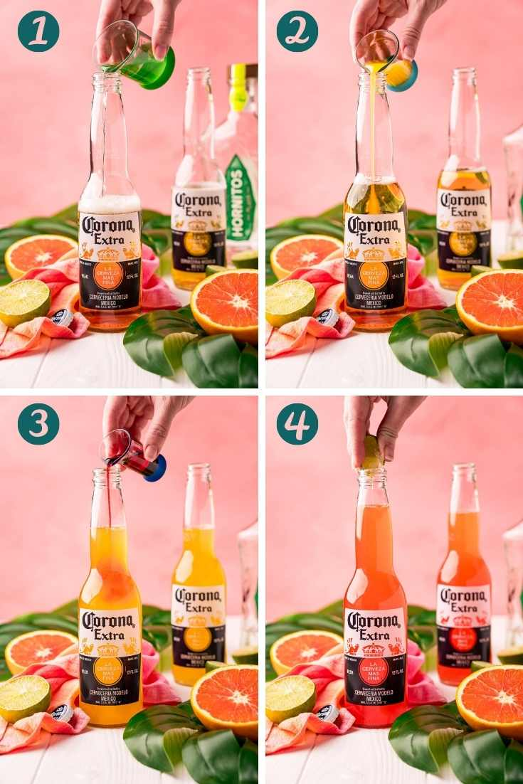 Step-by-step photo collage showing how to make a Corona Sunrise.