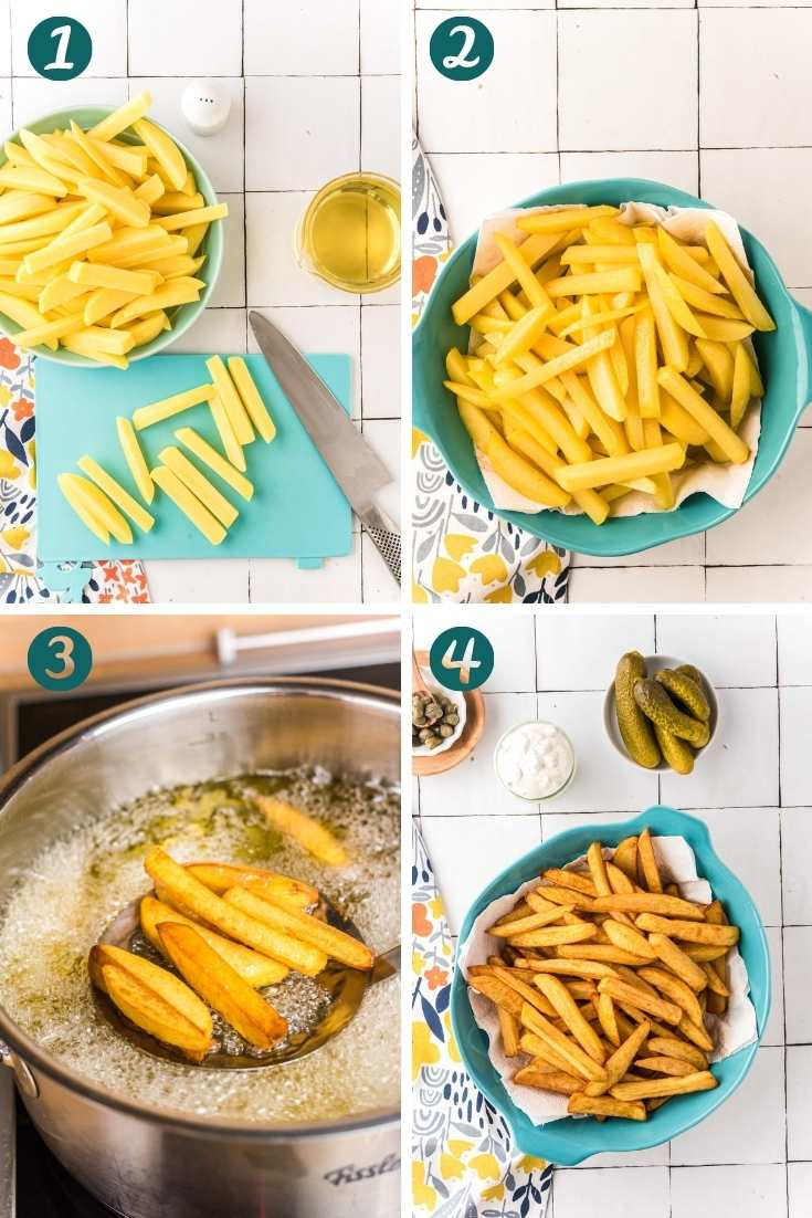 Step-by-step photo collage showing how to make french fries.
