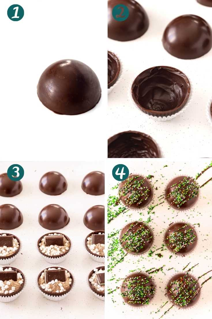 Step-by-step photo collage showing how to make mint hot cocoa bombs.