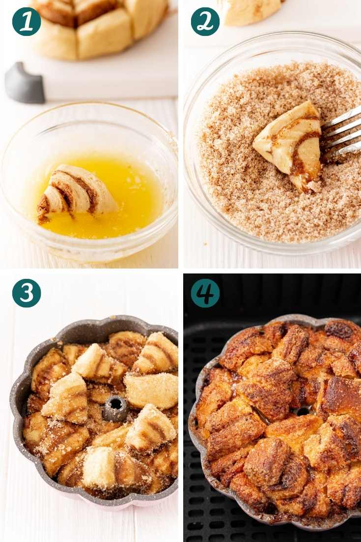 step-by-step photo collage showing how to make monkey bread in the air fryer.