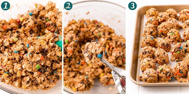 Step-by-step photo collage showing how to make monster cookie energy balls.