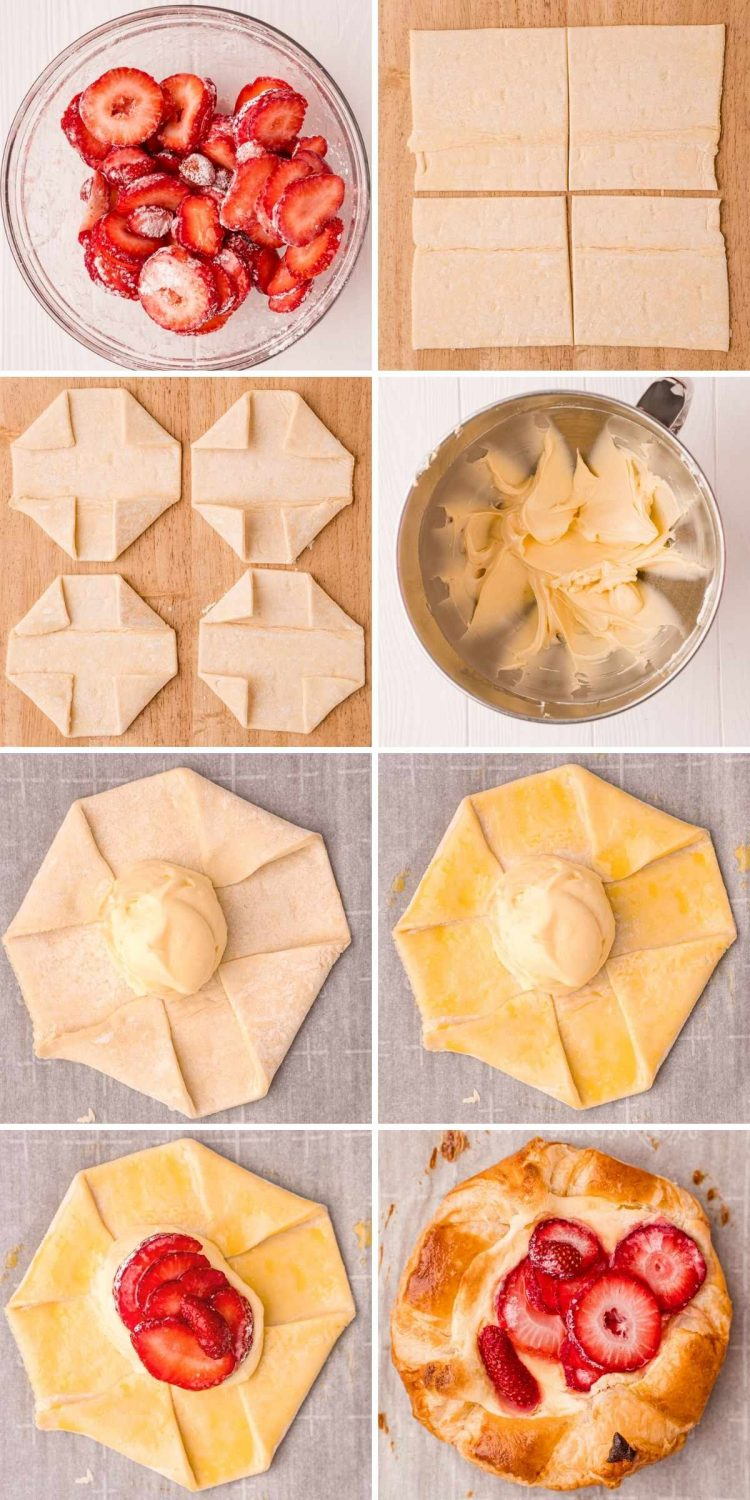 Step by step photo collage showing how to make cheese danishes.