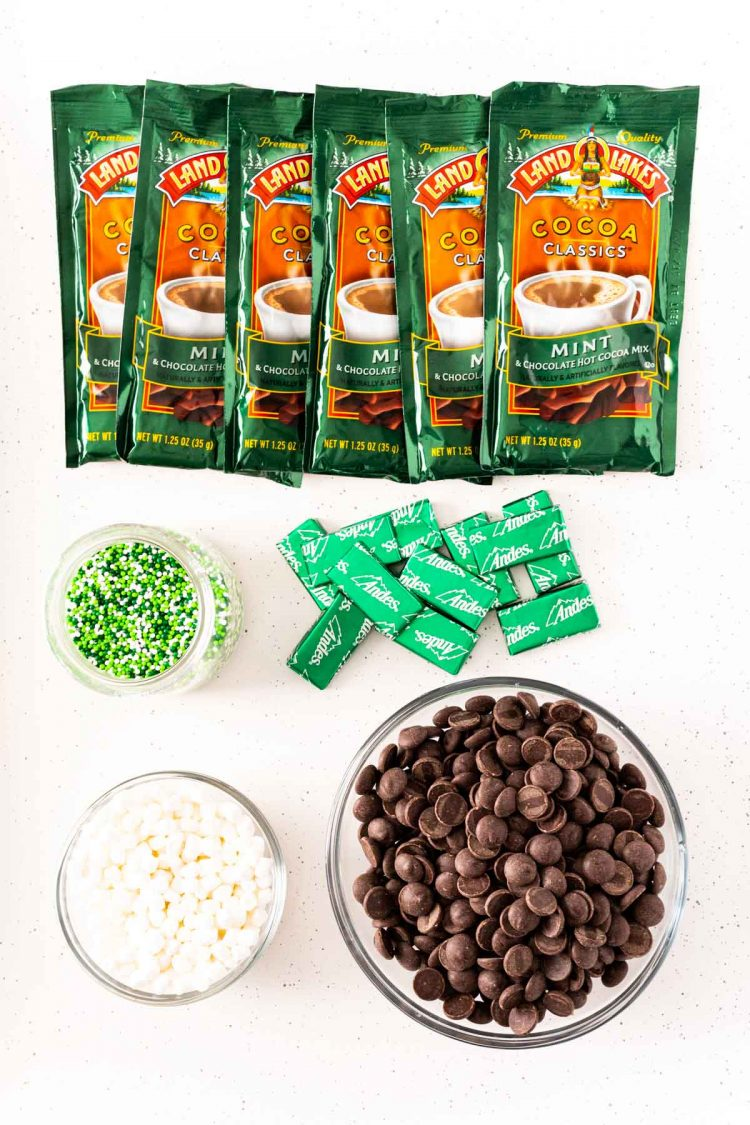 Overhead photo of ingredients used to make Mint Hot Chocolate Bombs.