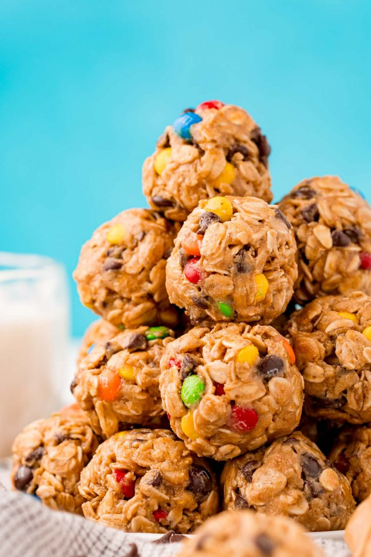 Close up photo of a stack of Monster Cookie Protein balls.