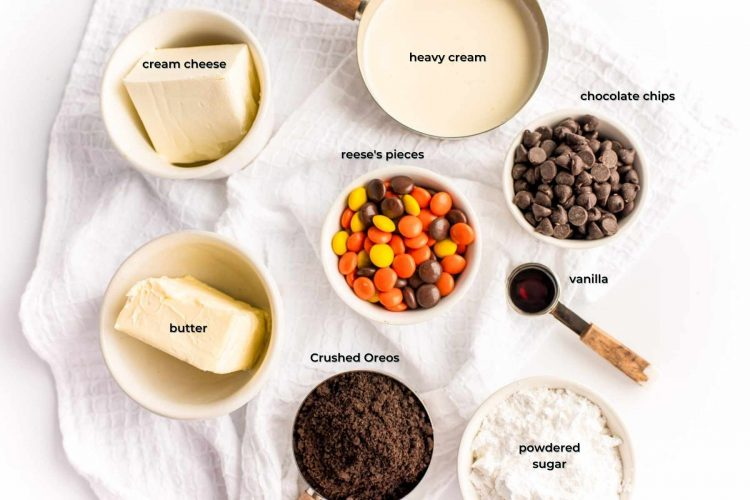 Overhead photo of ingredients prepped with make a no bake reese's peanut butter cheesecake.
