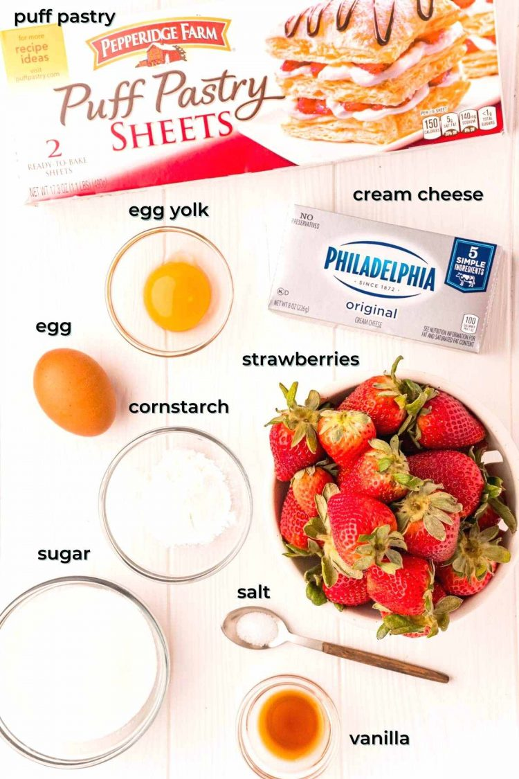 Ingredients used to make strawberry danishes.