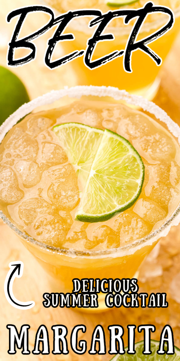 Beer Margaritas are an easy drink recipe made with Corona, tequila, triple sec, lime juice, and agave! This refreshing large batch cocktail is perfect for sharing with friends! via @sugarandsoulco