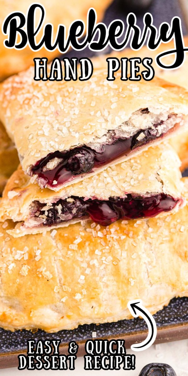 Blueberry Hand Pies are bursting with juicy blueberry filling and baked to a beautiful golden brown, all made easy using store-bought ingredients! via @sugarandsoulco