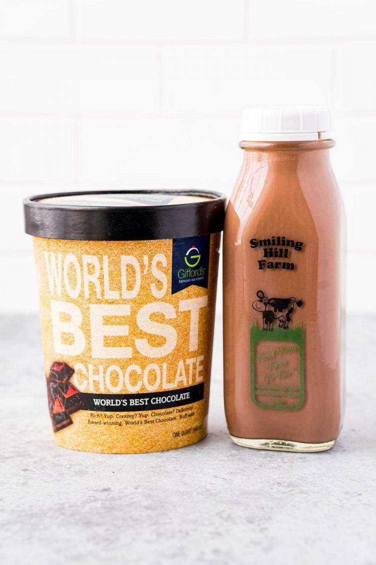 Chocolate milkshake ingredients.