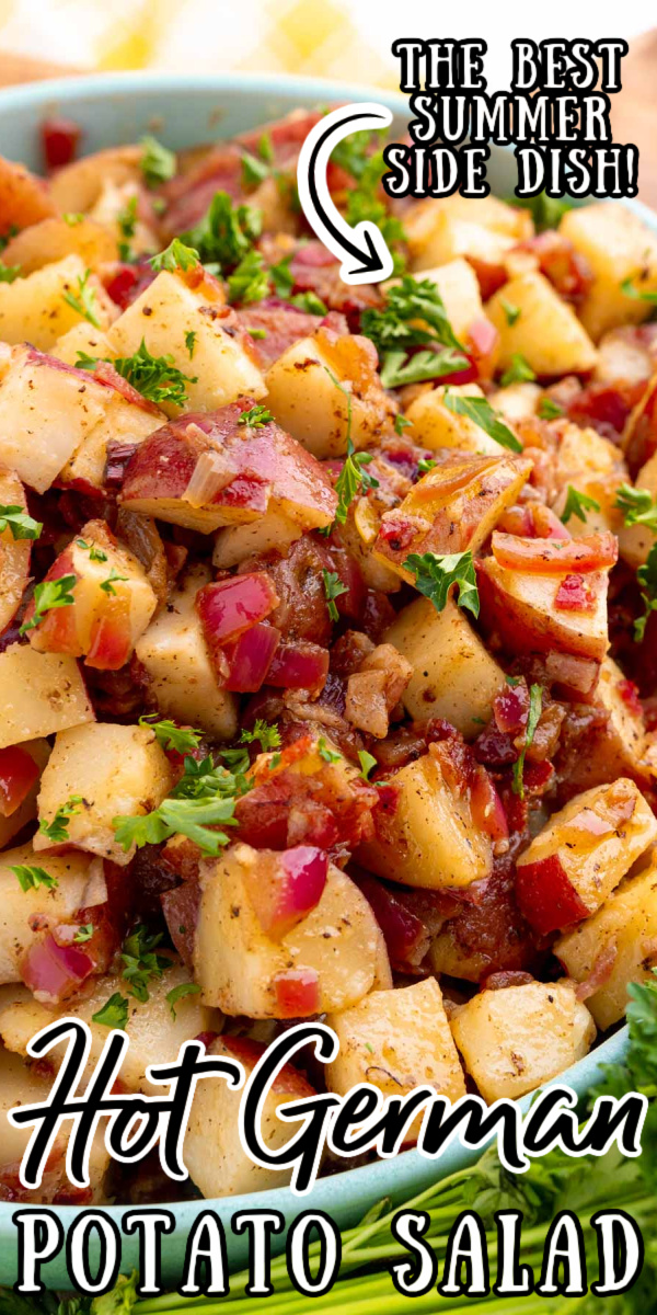 German Potato Salad is loaded with bacon, tender potatoes, red onion, dijon mustard, and more for a summer side dish that will disappear fast at any gathering! via @sugarandsoulco
