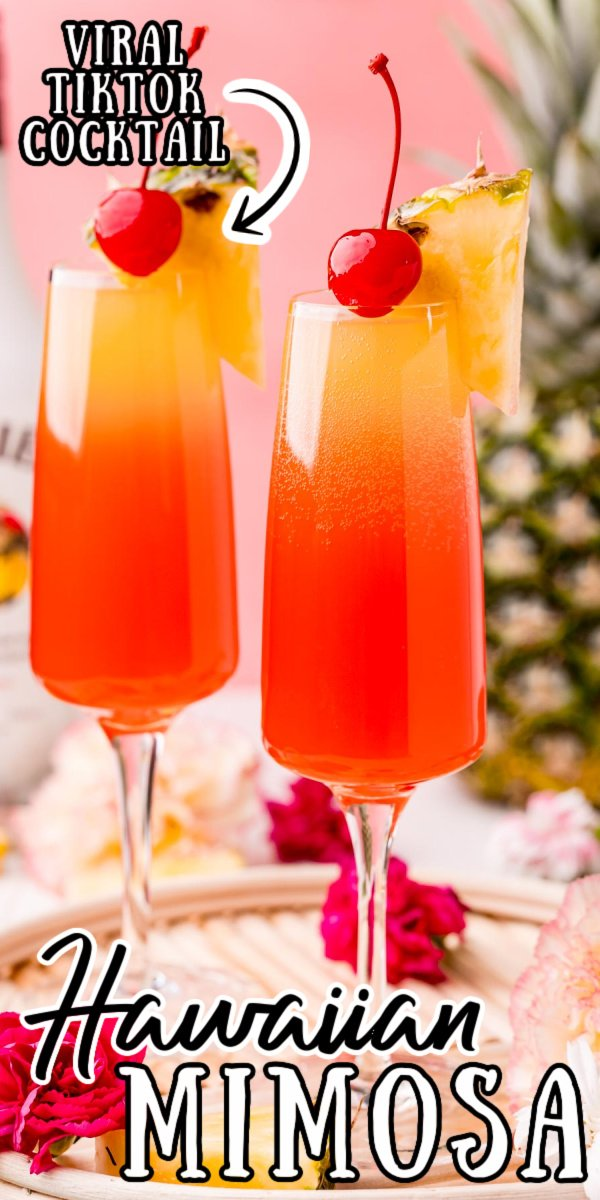This Hawaiian Mimosa is made with prosecco, coconut rum, pineapple juice, and grenadine. It's light, sweet, fruity, and downright delicious - no wonder it's gone viral on TikTok! via @sugarandsoulco