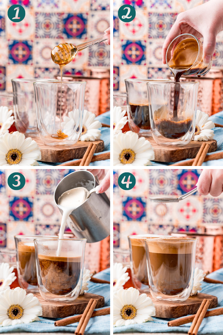 Step by step photo collage showing how to make cafe con miel.