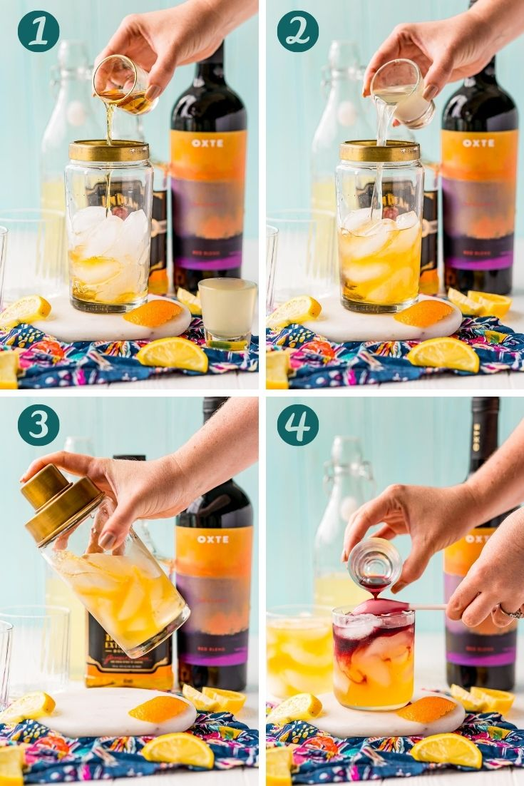 step by step photo collage showing how to make a New York Sour.