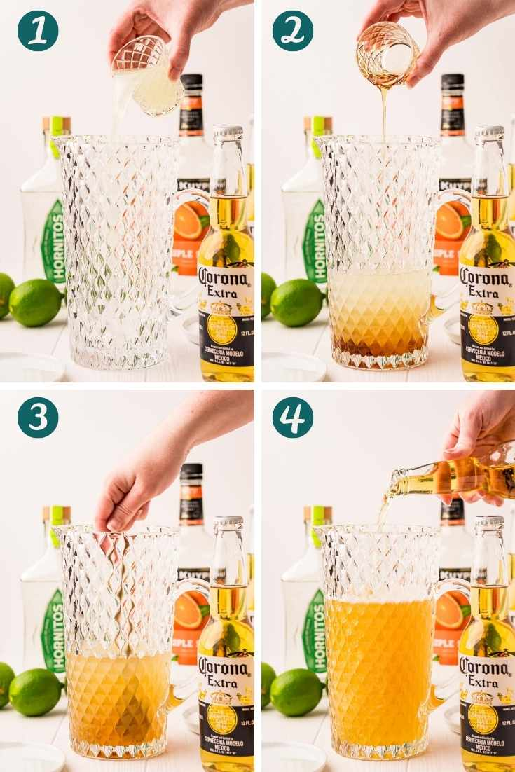 Step-by-step photo collage showing how to make beer margaritas.