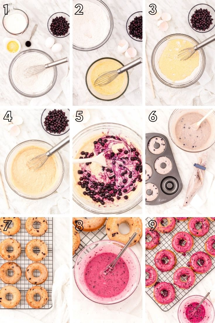 Step by step photo collage showing how to make blueberry donuts.