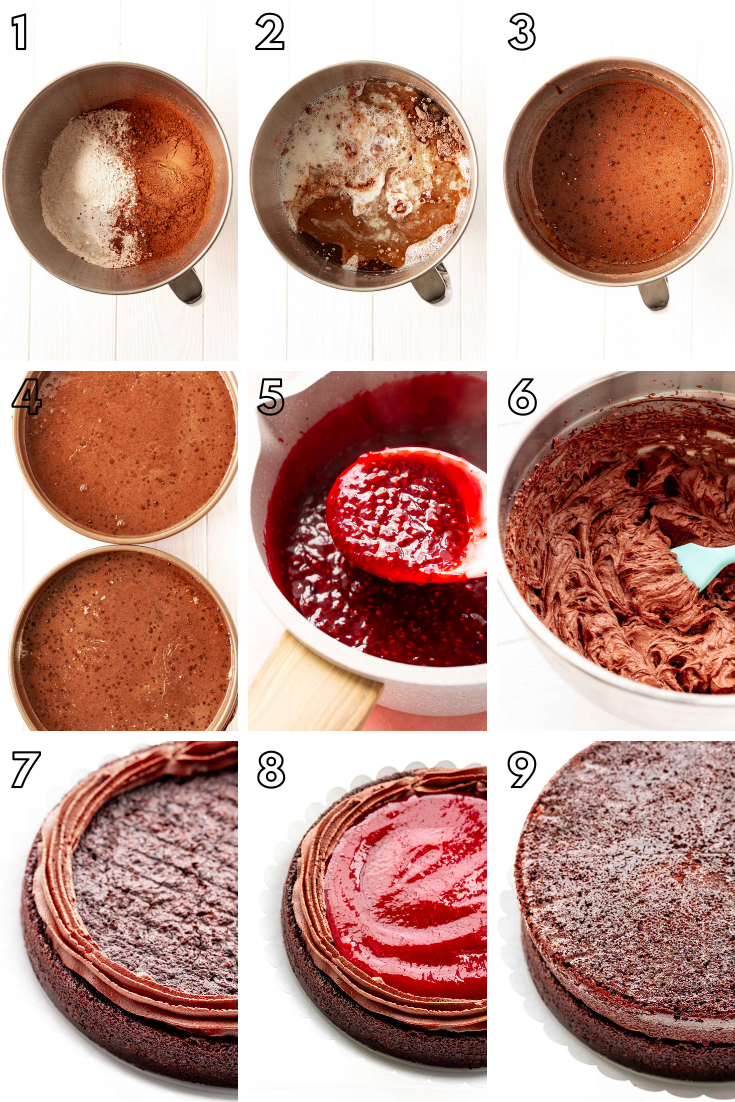 Step-by-step photo collage showing how to make chocolate raspberry cake from scratch.