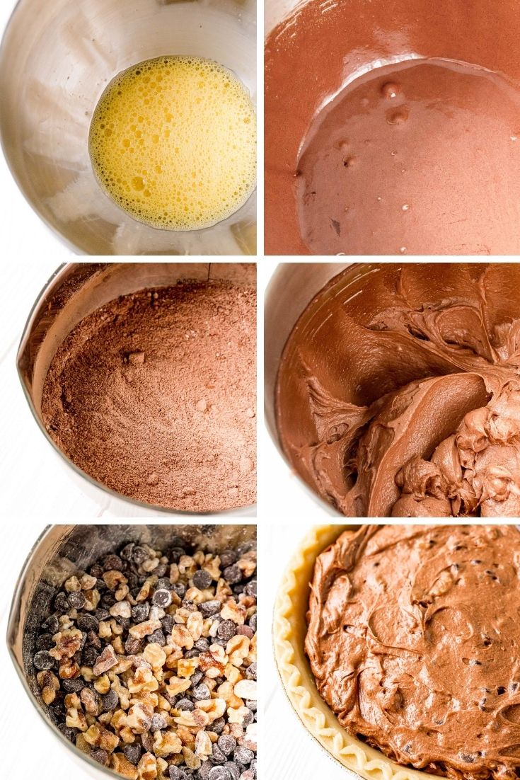Step-by-step photo collage showing how to make chocolate toll house pie.