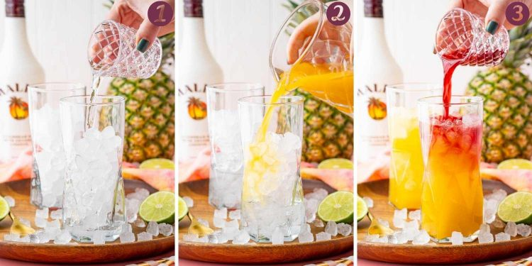 Step-by-step photo collage showing how to make a Malibu Bay Breeze cocktail.